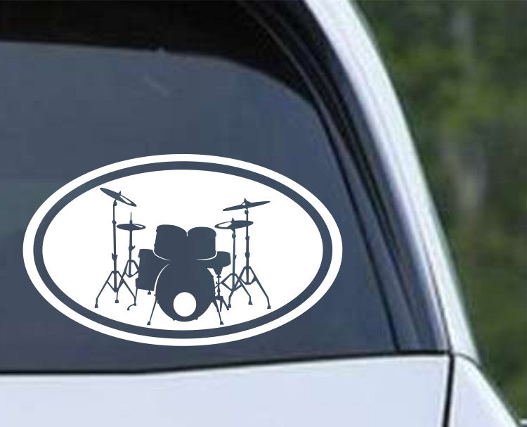 Drum Set Euro Oval Die Cut Vinyl Decal Sticker - Decals City