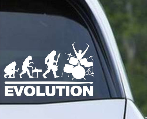 Drummer Evolution - Funny Die Cut Vinyl Decal Sticker
