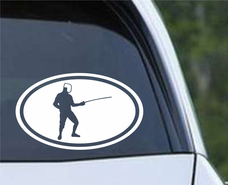 Fencing Euro Oval Die Cut Vinyl Decal Sticker - Decals City