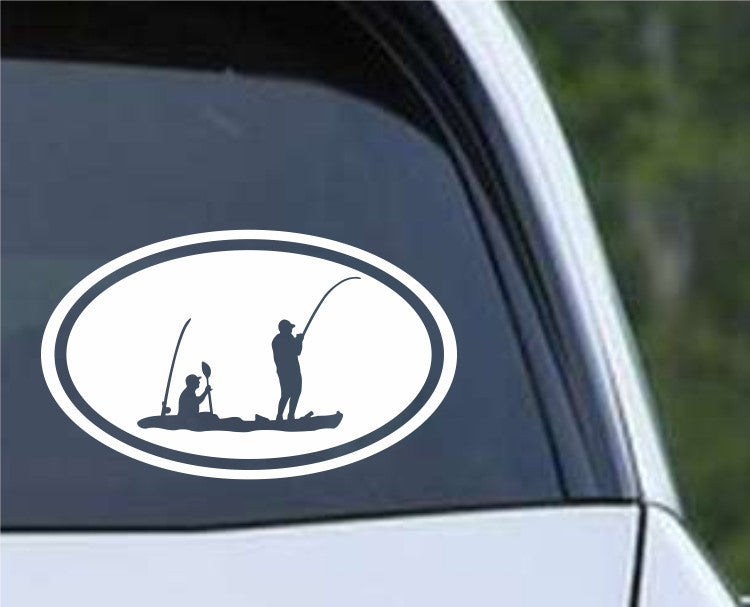 Kayak Tandem Fishing Euro Oval Die Cut Vinyl Decal Sticker - Decals City