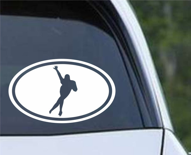 Speed Skater Euro Oval Die Cut Vinyl Decal Sticker - Decals City