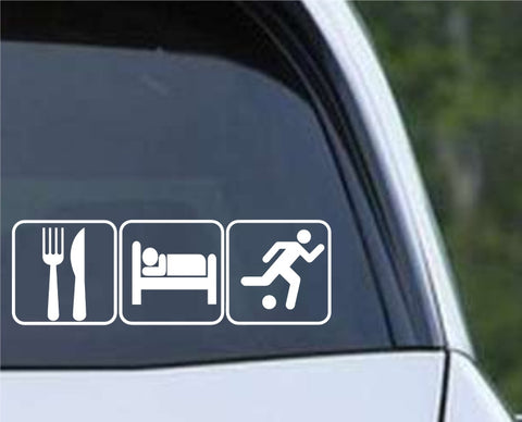 Eat Sleep Soccer Die Cut Vinyl Decal Sticker
