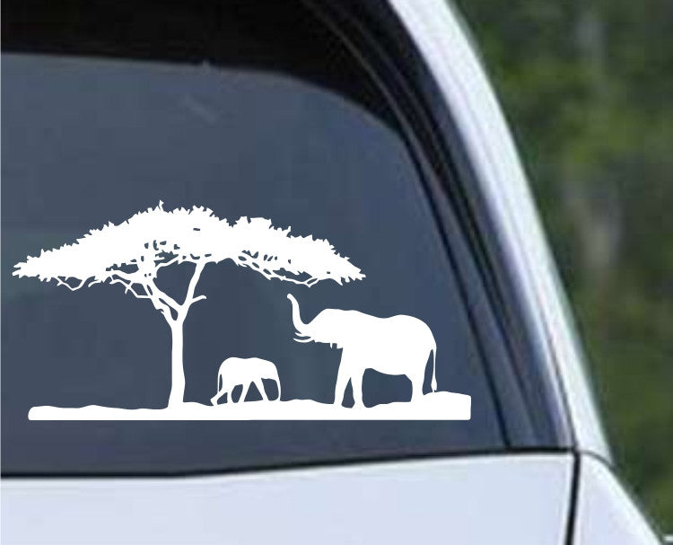 Elephants Silhouette Scene Die Cut Vinyl Decal Sticker - Decals City