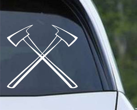 Fire Department Fireman Crossed Axes (03) Die Cut Vinyl Decal Sticker - Decals City