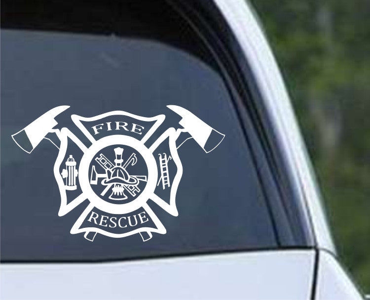 Fire Department Fireman Maltese Cross (04) Die Cut Vinyl Decal Sticker - Decals City