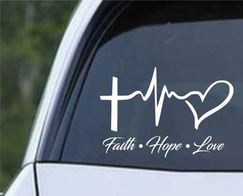 Faith Hope Love Lifeline Die Cut Vinyl Decal Sticker