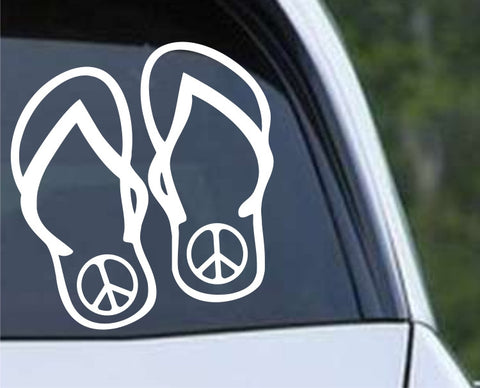 Flip Flops Peace Die Cut Vinyl Decal Sticker