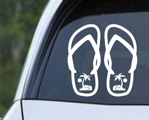 Flip Flops Sun Palm Trees Sandals Die Cut Vinyl Decal Sticker