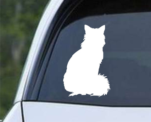 Fluffy Cat Silhouette Die Cut Vinyl Decal Sticker - Decals City