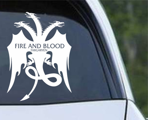 Game Of Thrones - Fire and Blood Targaryen Dragon Die Cut Vinyl Decal Sticker - Decals City