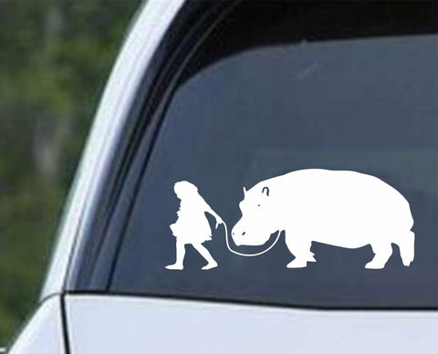 Girl Walking Hippopotamus Die Cut Vinyl Decal Sticker - Decals City