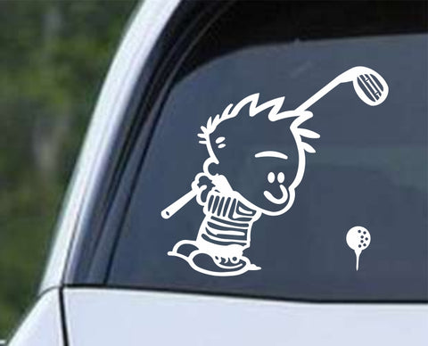 Golf - Calvin Golfer Die Cut Vinyl Decal Sticker - Decals City