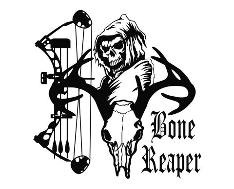 Grim Reaper Bone Reaper Bow Hunter Deer Skull Die Cut Vinyl Decal Sticker - Decals City