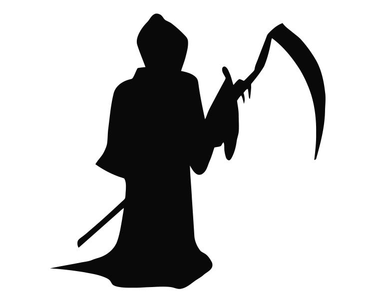 Grim Reaper Holding Scythe (f) Die Cut Vinyl Decal Sticker - Decals City