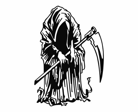 Grim Reaper Holding Scythe (p) Die Cut Vinyl Decal Sticker - Decals City