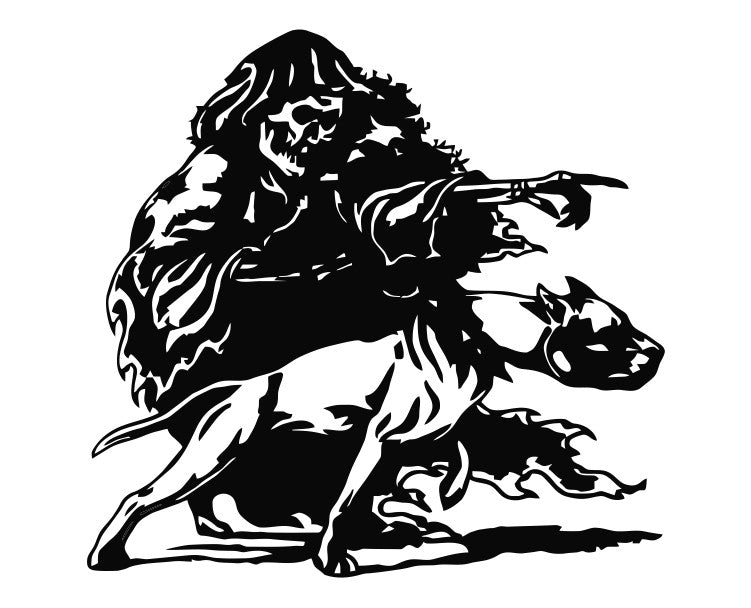 Grim Reaper with Pitbull Dog Die Cut Vinyl Decal Sticker - Decals City