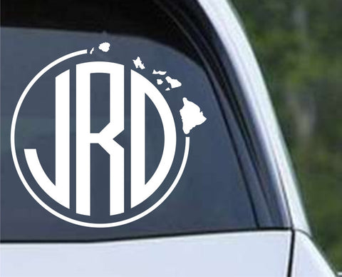 Hawaii Round Frame Monogram Die Cut Vinyl Decal Sticker