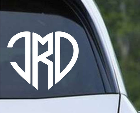 Heart Monogram Die Cut Vinyl Decal Sticker