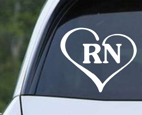 Heart with Rn Text Nurse Hospital Love Life Symbol Die Cut Vinyl Decal Sticker - Decals City