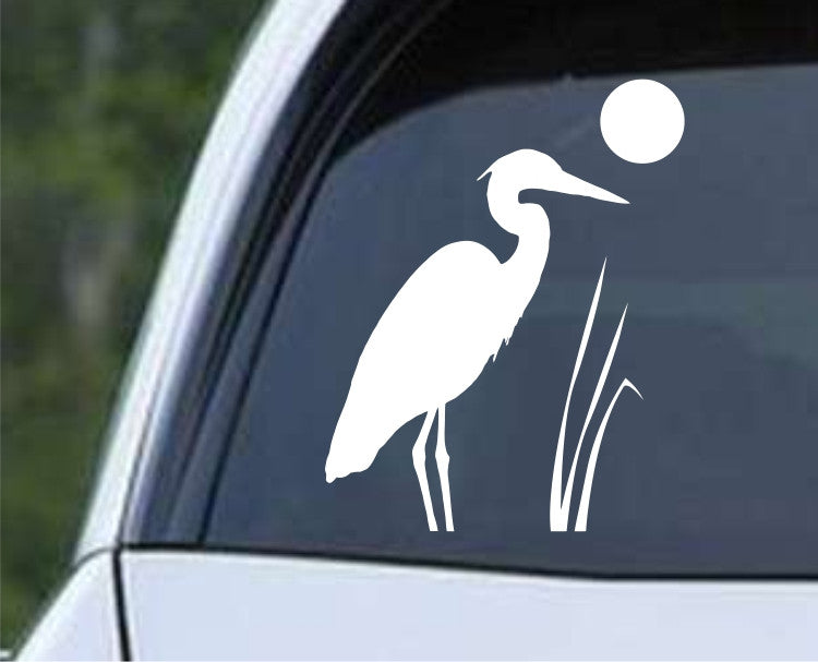 Heron in the Reeds Silhouette Die Cut Vinyl Decal Sticker - Decals City