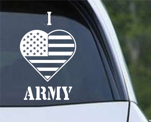 I Heart Flag Army Patriotic (HRO147) Die Cut Vinyl Decal Sticker - Decals City