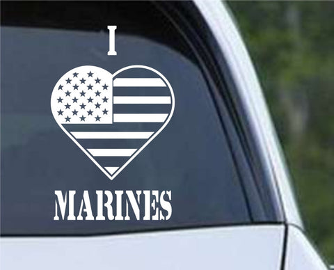 I Heart Flag Marines Patriotic (HRO146) Die Cut Vinyl Decal Sticker