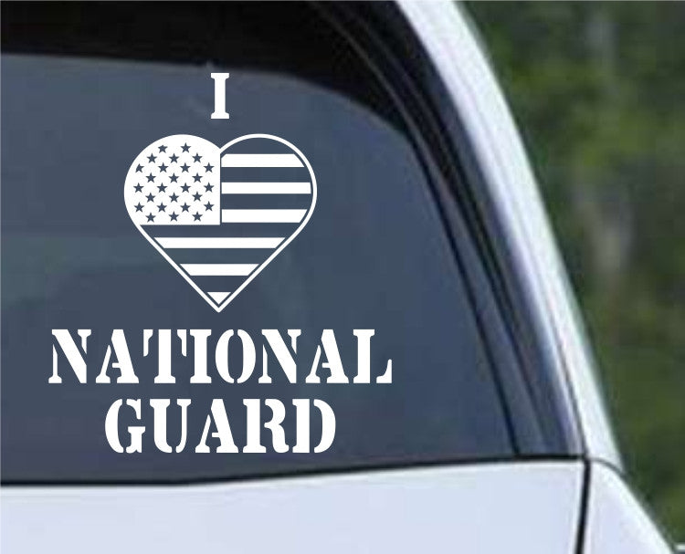 I Heart Flag National Guard Patriotic (HRO144) Die Cut Vinyl Decal Sticker - Decals City