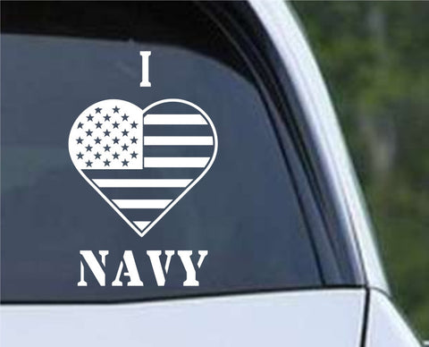 I Heart Flag Navy Patriotic (HRO145) Die Cut Vinyl Decal Sticker - Decals City