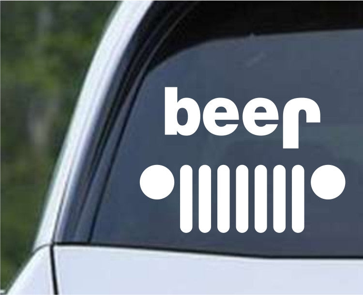 Jeep Beer Funny Die Cut Vinyl Decal Sticker - Decals City