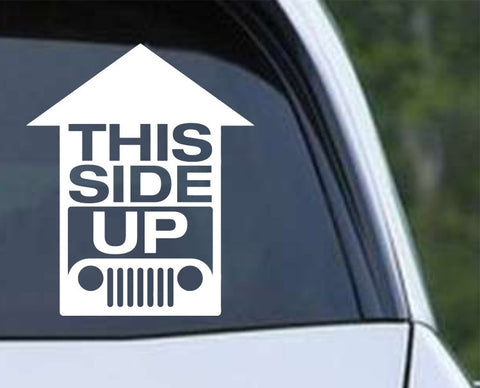 Jeep - This Side Up Funny Die Cut Vinyl Decal Sticker - Decals City