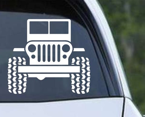 Jeep CJ Front Off Road Die Cut Vinyl Decal Sticker - Decals City
