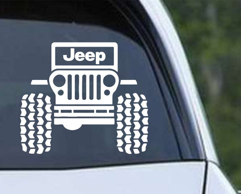 Jeep CJ Front Off Road (ver b) Die Cut Vinyl Decal Sticker - Decals City