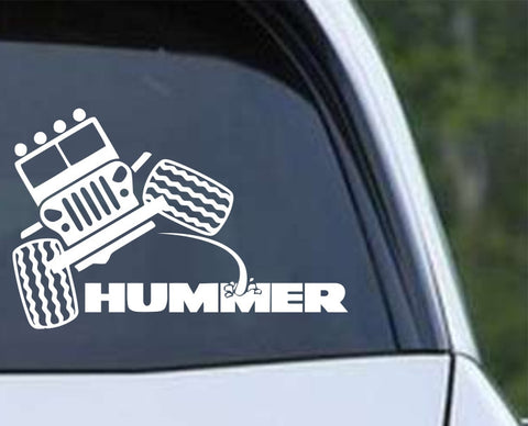 Jeep Peeing on Hummer Funny Die Cut Vinyl Decal Sticker - Decals City