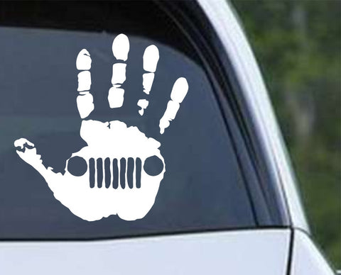 Jeep Wave Handprint Die Cut Vinyl Decal Sticker - Decals City
