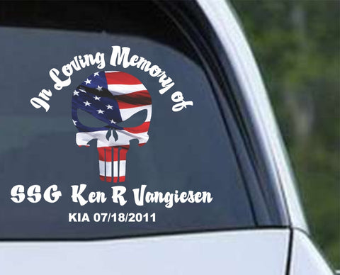 In Loving Memory Punisher Die Cut Vinyl Decal Sticker - Decals City