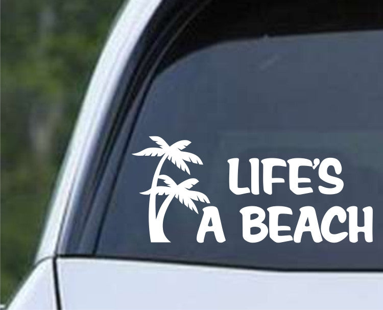Life's a Beach Palm Trees Die Cut Vinyl Decal Sticker - Decals City