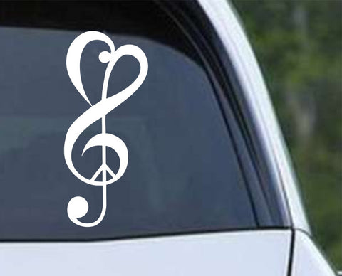 Love Peace Music Die Cut Vinyl Decal Sticker