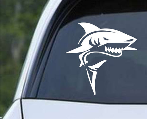 Mean Shark Mascot Die Cut Vinyl Decal Sticker - Decals City