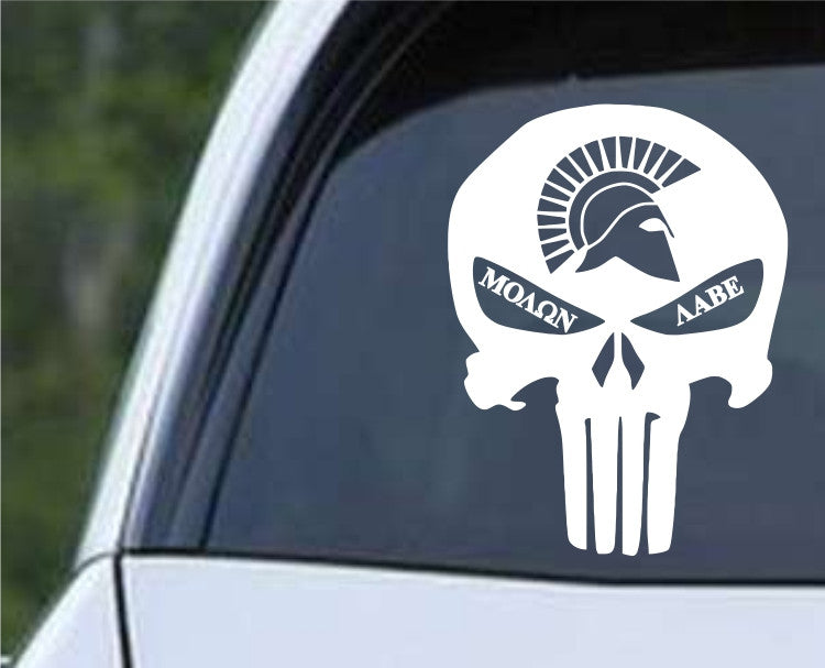 Molon Labe Punisher Sparta Helmet Die Cut Vinyl Decal Sticker - Decals City