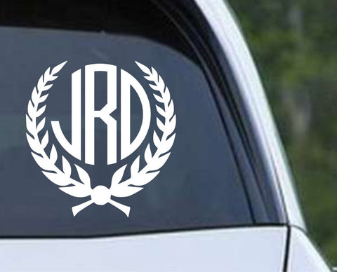 Circle Monogram - Laurel Wreath Die Cut Vinyl Decal Sticker - Decals City