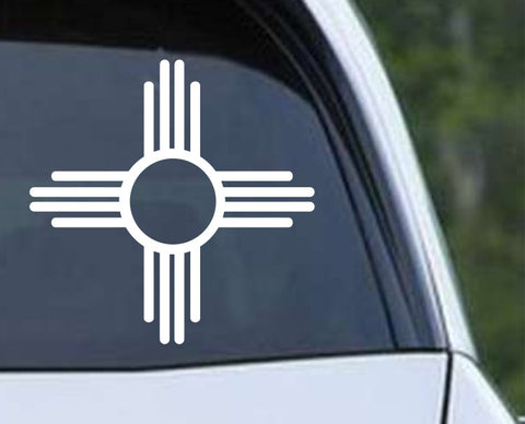New Mexico Zia Sun symbol - Native American Die Cut Vinyl Decal Sticker - Decals City