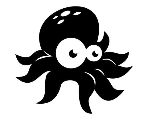 Octopus Cartoon (ver b) Die Cut Vinyl Decal Sticker - Decals City