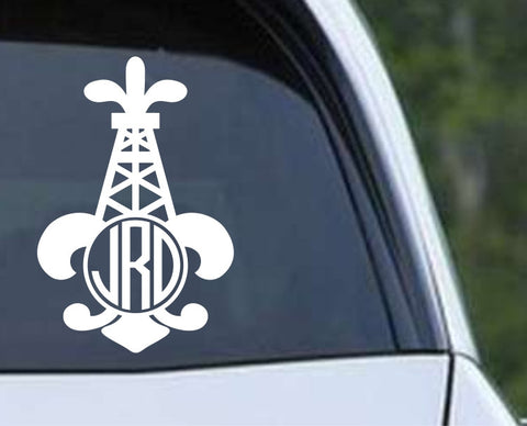 Oil Field - Fleur De Lis Circle Monogram Die Cut Vinyl Decal Sticker - Decals City