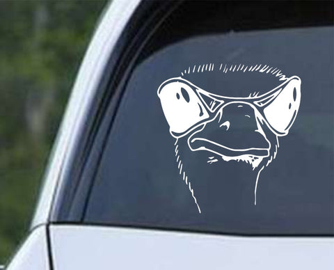Ostrich Head with Shades Die Cut Vinyl Decal Sticker - Decals City