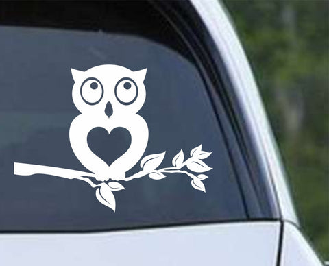 Owl (10) Heart Tree Branch Die Cut Vinyl Decal Sticker