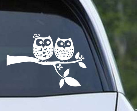 Owl (13) Love Birds on a Branch Die Cut Vinyl Decal Sticker
