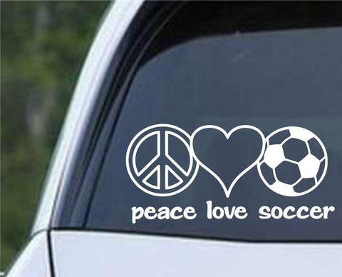 Peace Love Soccer Die Cut Vinyl Decal Sticker