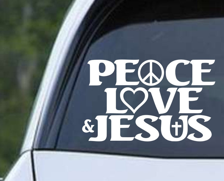 Peace, Love and Jesus Christian Die Cut Vinyl Decal Sticker - Decals City