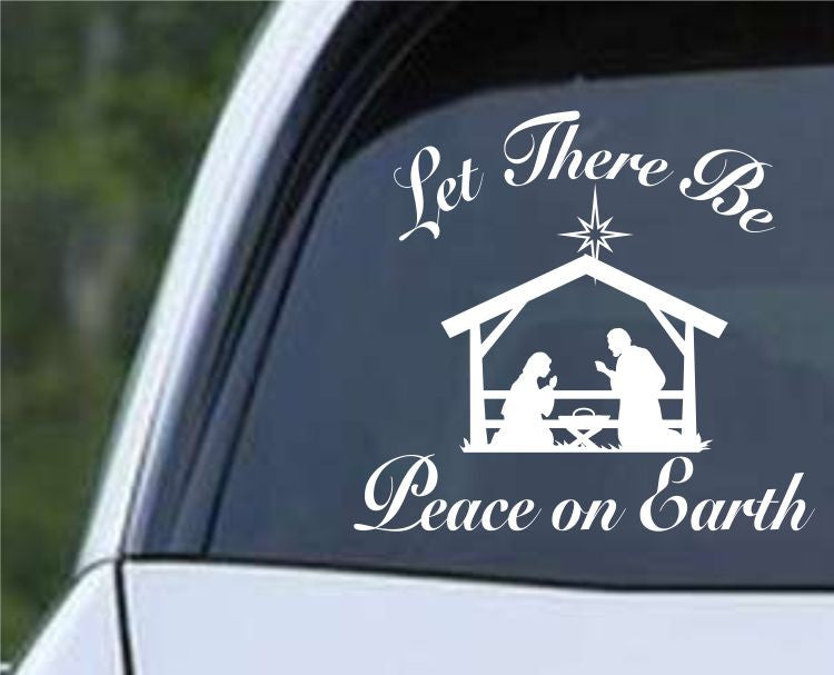 Peace on Earth Christmas Manger Die Cut Vinyl Decal Sticker - Decals City