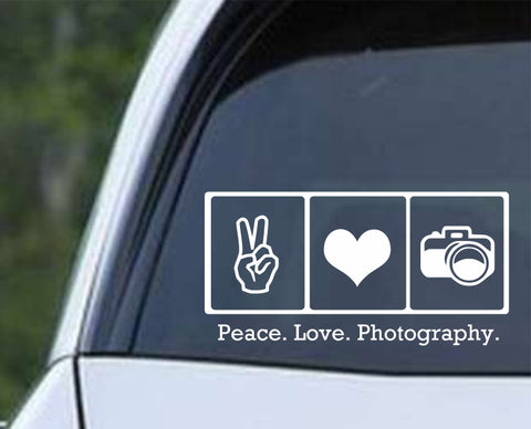 Photography - Peace Love Photography Die Cut Vinyl Decal Sticker - Decals City